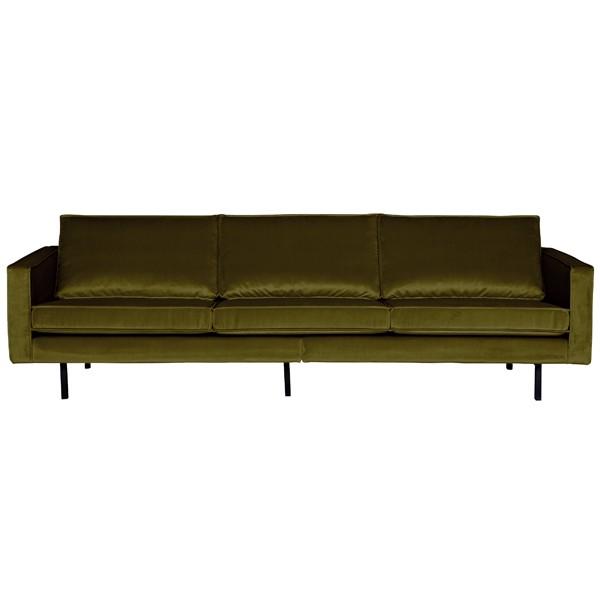 3 Sitzer Sofa Rodeo Samt olive Couch Garnitur Samtsofa Couchgarnitur