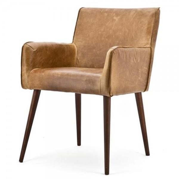 Armlehnstuhl SASCHA Echtleder Vintage braun Küchenstuhl Stuhl Esszimmerstuhl