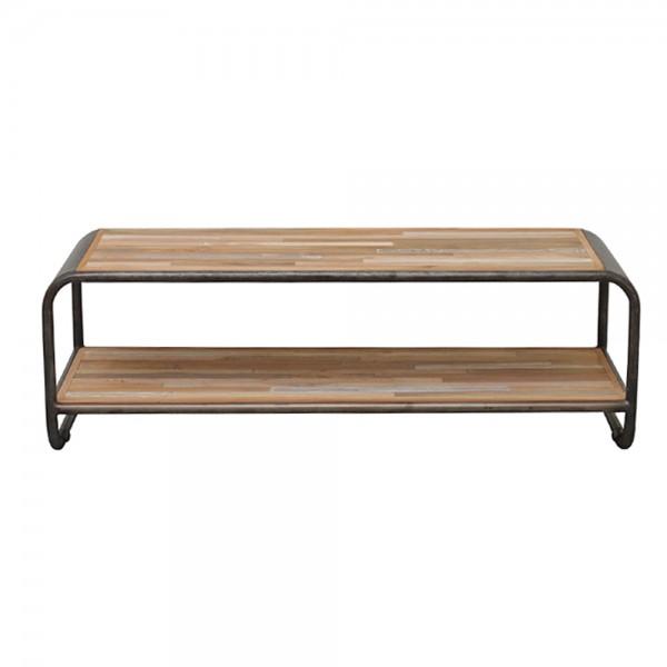 Beistelltisch BRANDY 120 cm Lowboard Anstelltisch Kaffeetisch Tisch Metall Teak
