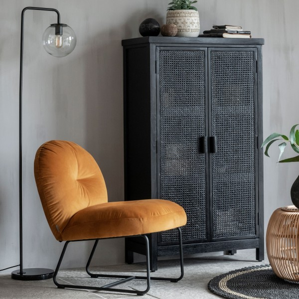 MUST Living Loungesessel Sessel Bouton Samt ocker