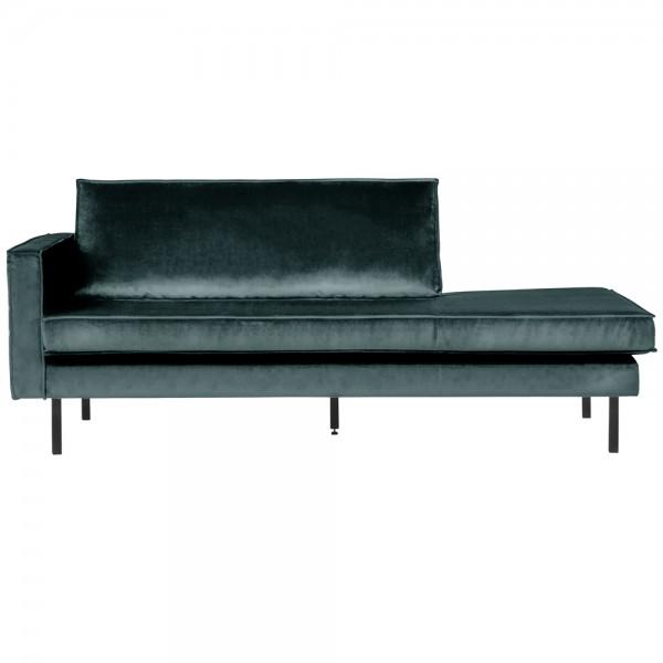 Sofa Chaiselongue RODEO Recamiere Samt blaugrün links Tagesbett