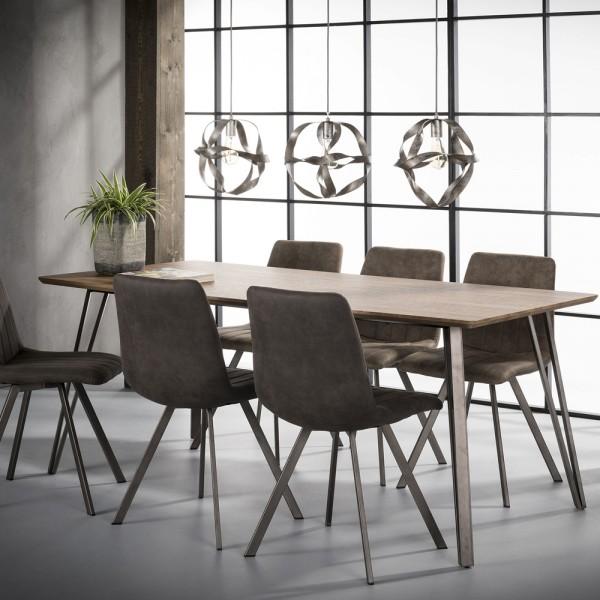 Esstisch 190 x 90 cm MDF Eiche Dekor V-Rahmen Esszimmertisch Dinnertisch