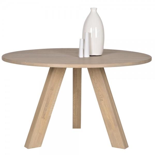 Esstisch RHONDA Ø 129 cm Esszimmertisch Dinnertisch Massivholz Eiche geräuchert