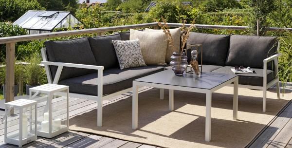 Garten Lounge Set RANA weiß Sitzgruppe Eckgruppe Aluminium inkl.Polster
