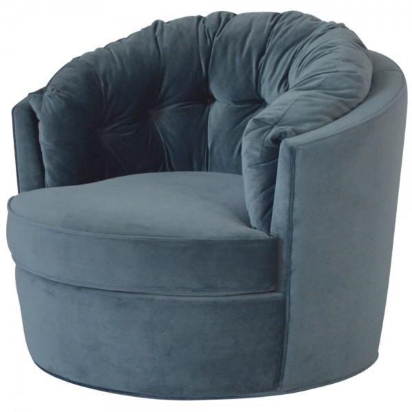 50er Jahre Sessel Polstersessel Carousel Samt stahlblau Drehsessel Fernsehsessel
