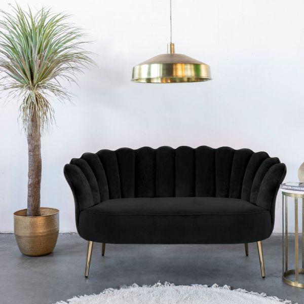 2 Sitzer Sofa Mala schwarz 145 cm Samt Sofabank