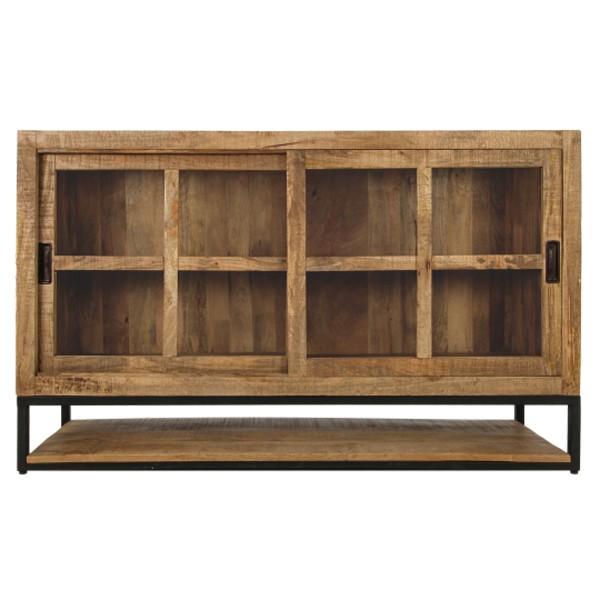 Sideboard Byron 150 cm Mango Massivholz Metall Kommode Schrank Schiebtüren