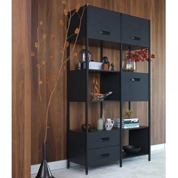 Regal Legacy H 220 cm Metall Holz schwarz Ablageregal Aufbewahrung Bücherregal