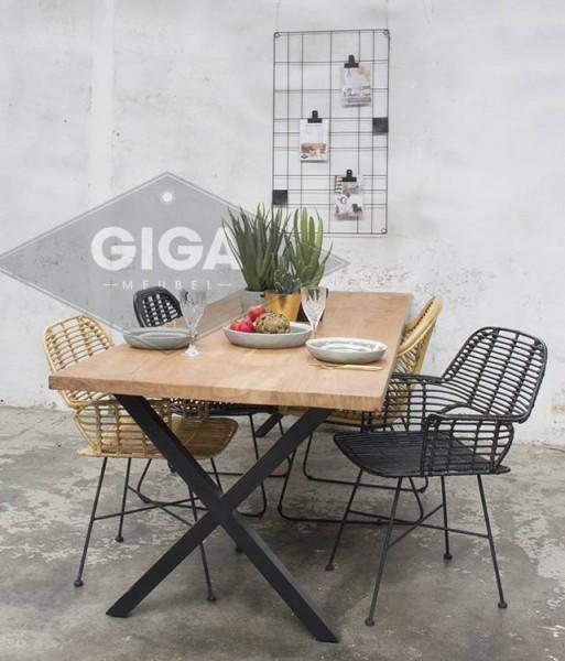 Esstischstuhl BADUNG Rattan schwarz Stuhl Rattanstuhl Esszimmer Küchenstuhl Armlehnstuhl