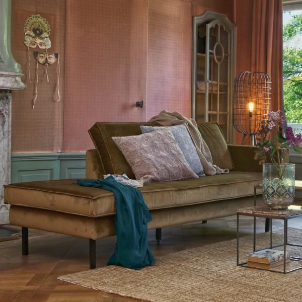 Sofa Chaiselongue RODEO Recamiere Samt honiggelb rechts Tagesbett