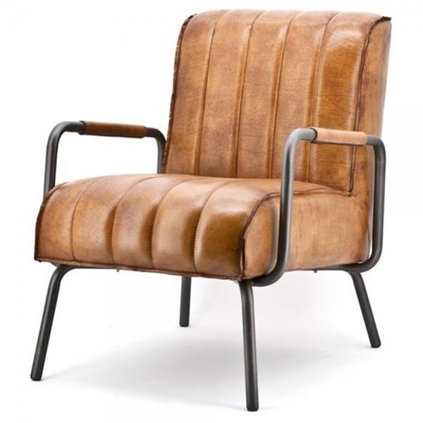 Sessel MARVIN cognac Leder Armlehnen Relaxsessel Fernsehsessel Loungesessel
