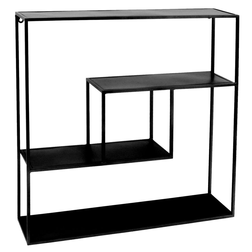 Wandregal emery 61 x 61 cm metall schwarz ablageregal aufbewahrung regal new maison esto - Wandregal schwarz metall ...