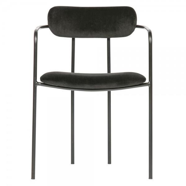 2er Set Esstischstuhl Ivy Samt schwarz Stuhl