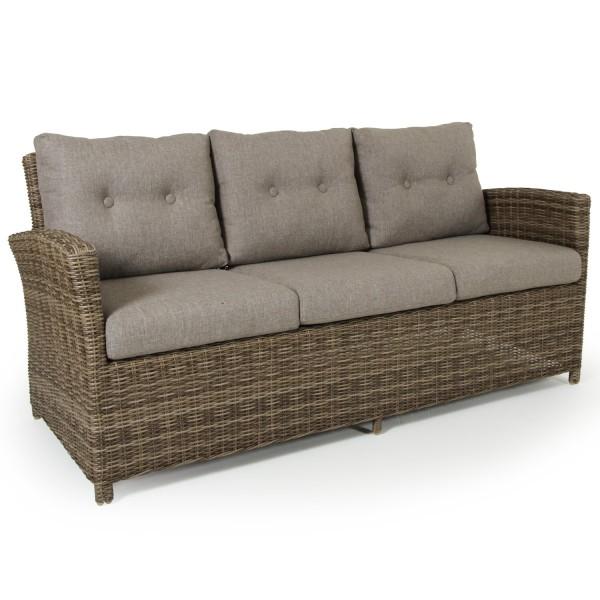 3 Sitzer Gartenbank Lounge Garten Sofa Rattan Soho natur incl. Polster