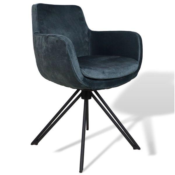 2er Set Esszimmerstuhl Phoenix niagara blau Samt Velours Armlehnstuhl Esstischstuhl Stuhl