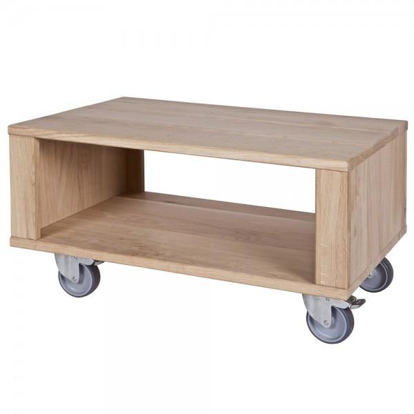 Landhaus Couchtisch OSLO auf Rollen 60 x 40 cm Holztisch Massivholz Sofatisch