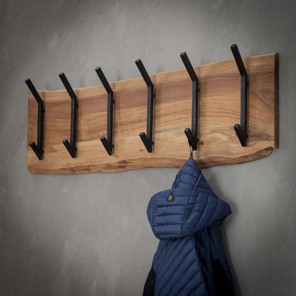 Wandgarderobe Hängegarderobe 6 Doppelhaken 100 cm breit Akazie Metall Garderobe