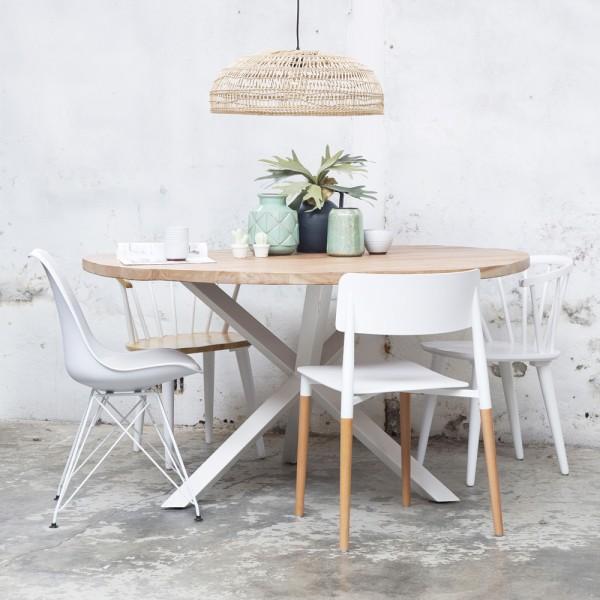 Esstisch Jackie rund Ø 150 cm Holztisch Metall Gestell weiss Tisch