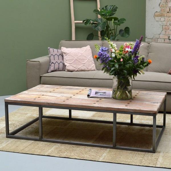 Couchtisch ICON 150 x 80 cm Massivholz Metall Sofatisch Beistelltisch Tisch