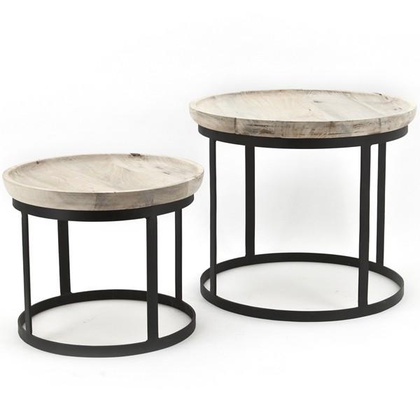 Kaffeetisch 2er Set Beistelltische Ø 43 / 53 cm Metall Massivholz