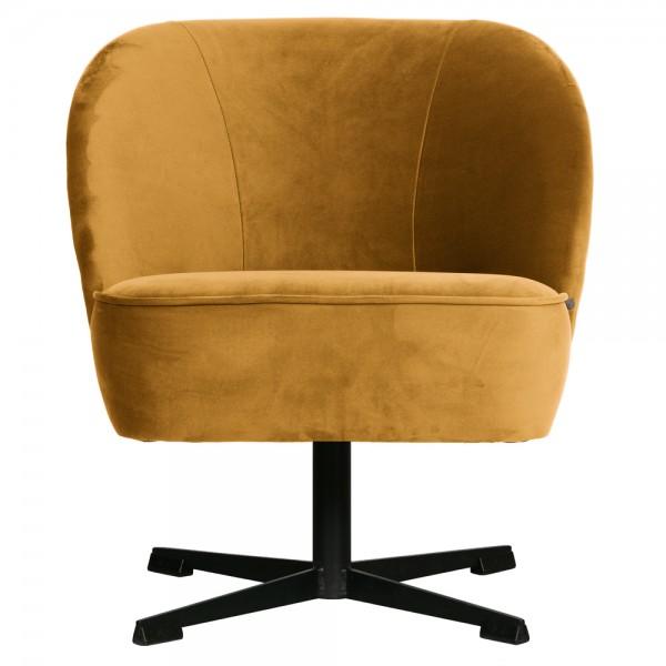 Sessel Vogue Samt senffarben Drehsessel Chair Stuhl Drehstuhl