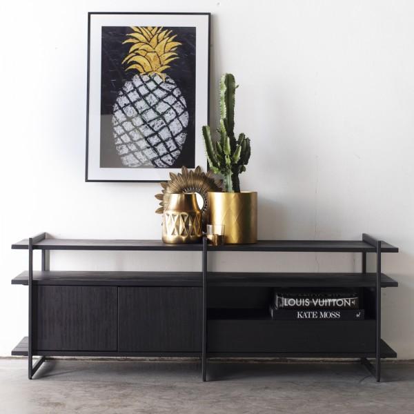 TV Möbel Star 150 cm Tisch Fernseh Board TV-Board Lowboard Akazie Metall schwarz