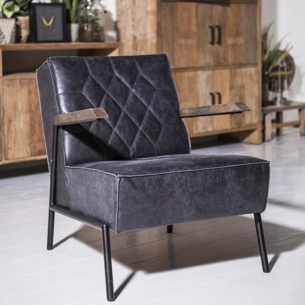 Armlehnsessel Wiebe Leder Schwarz Relaxsessel Fernsehsessel Lounge