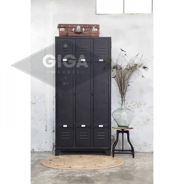 Industrie Design Spindschrank mit 3 Türen Metall vintage schwarz