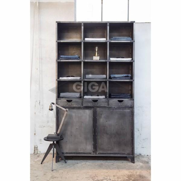 Industrie Bücherschrank H 235 cm anthrazit Metallschrank Schrank