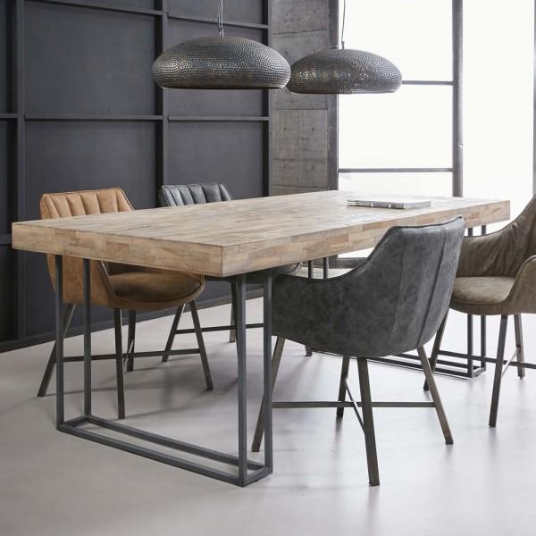 Esstisch Roma 200 x 100 cm Teakholz verwittert Metall Esszimmertisch Dinnertisch