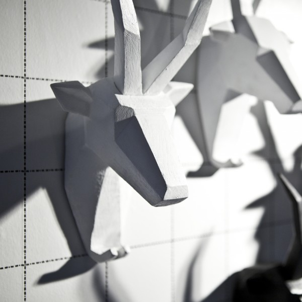 Wand Skulptur Head SYLVESTER Ziege Tier Kopf Tierkopf Ziegenkopf Wanddeko weiß