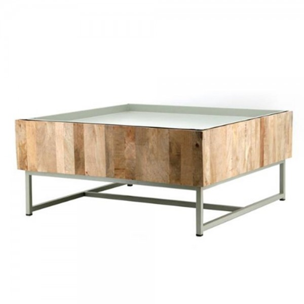 Beistelltisch Couchtisch HOPPER 82 x 82 cm Tisch Anstelltisch Holz Metall grün
