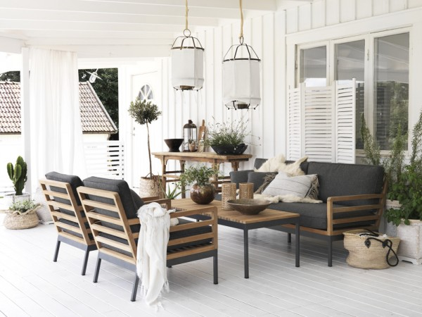 4 tlg. Gartenmöbel Lounge Garnitur ZALANGO Teakholz incl. Sitzkissen