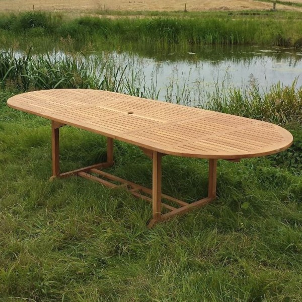 Gartentisch Teak Oval 180 240 Cm Ausziehbar Gartenmöbel