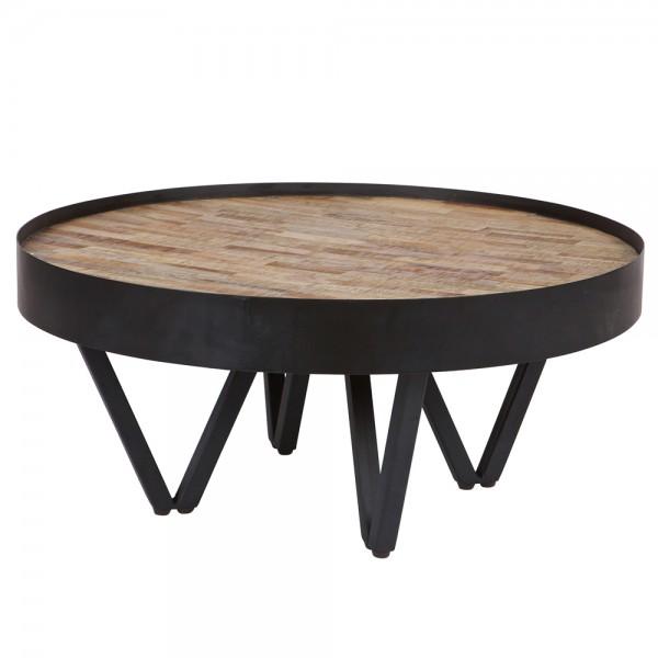 Beistelltisch Couchtisch DAX Ø 74 cm Tisch Kaffeetisch Metall Massivholz