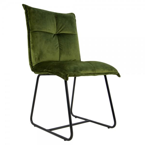 2er Set Stuhl Estelle moosgrün Samt Velvet Kufenstuhl Esszimmerstuhl Küchenstuhl