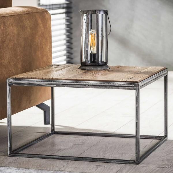 Couchtisch Rustic 60 x 60 cm Beistelltisch Sofatisch Tisch Hartholz Metall