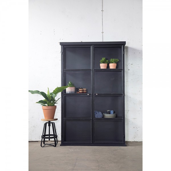 Industrie Design Vitrine NORI Glasvitrine schwarz metall Schrank Glastüren