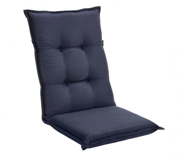 4´er Set Sitzkissen Auflagen TRENTO Hochlehner blau für Gartenmöbel