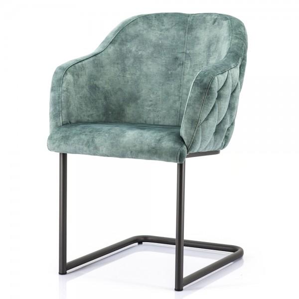 Schwingstuhl Paulette Samt grün Freischwinger Stuhl Esszimmer