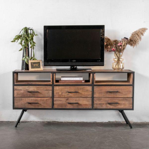 Industrie TV Möbel Jos 160 cm Lowboard Mangoholz Metall