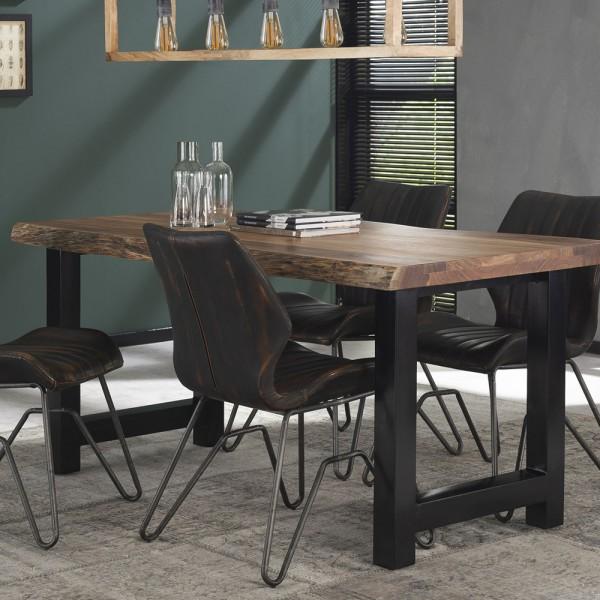 Esstisch Baumkante 165 x 85 cm Massivholz Metall Esszimmertisch Dinnertisch