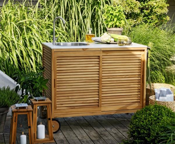 Outdoor Küche Teakholz Außenküche Beton-Look