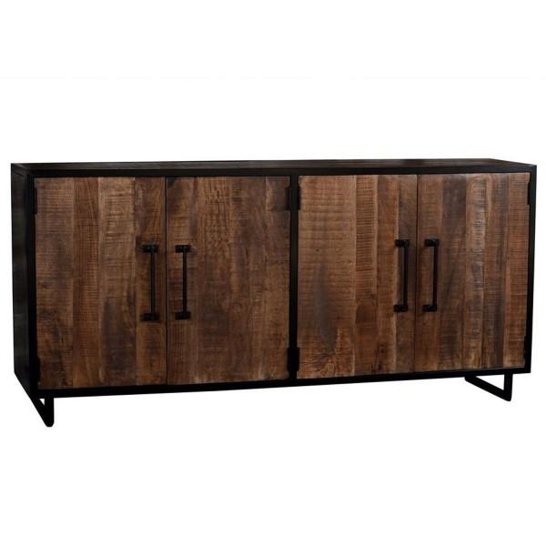 Kommode Sideboard Colorado 180 cm Mango Holz Metall schwarz