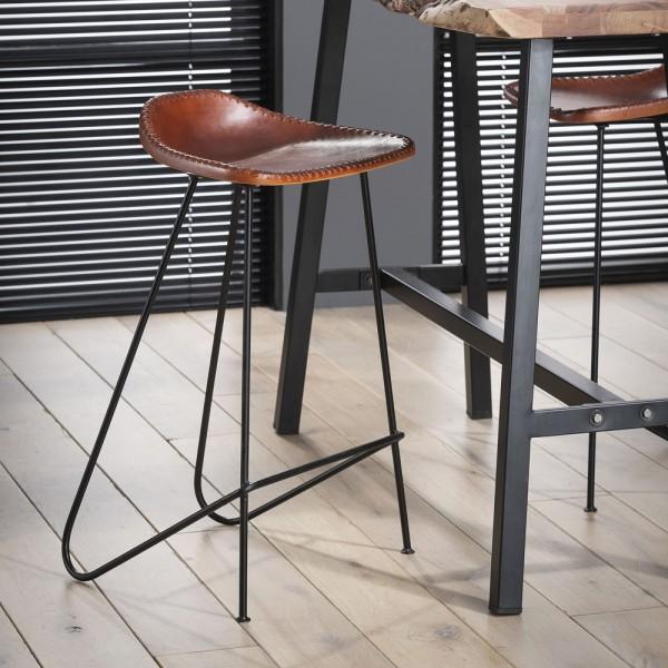 4´er Set Barstuhl BEN Barhocker Leder vintage braun Sitzhöhe 67 cm Hocker