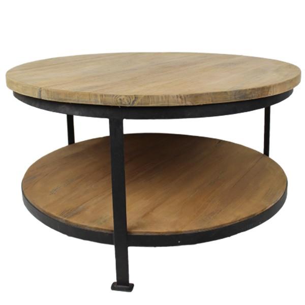 Beistelltisch Couchtisch NEW VINTAGE rund Ø 80 cm Kaffeetisch Tisch Massivholz