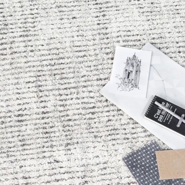 MUST LIVING Vintage Teppich Opal 160 x 230 cm grau Elfenbein Carpet Wolle