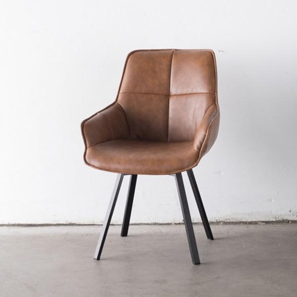 Esstischstuhl Stuhl drehbar Shannon Kunstleder cognac
