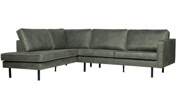 Eckgarnitur Rodeo Leder armygrün Couch Sofa Ecksofa