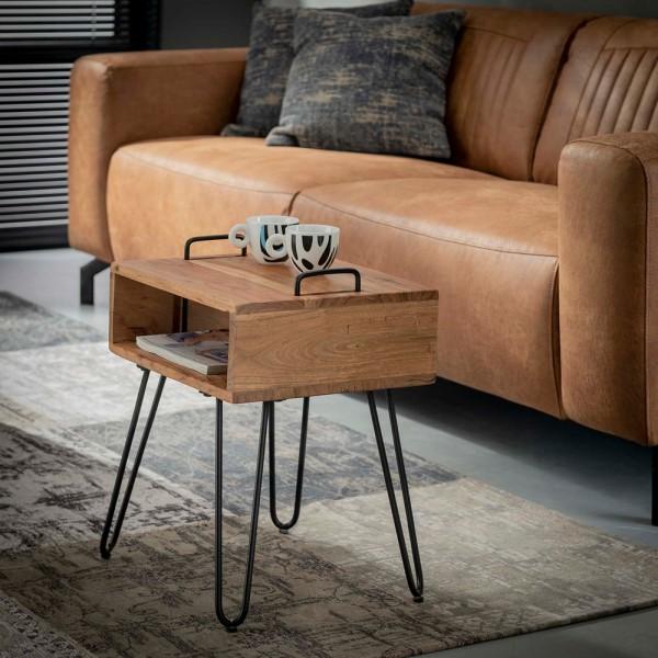 Nachttisch Beistelltisch Monto Metall Massivholz Nachtschränkchen Nachtkonsole